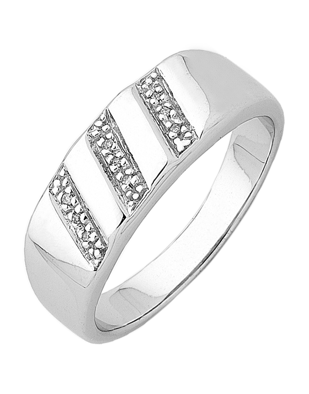 Men's Ring - Sterling Silver Diamond Set Ring - 745122 - Salera's Melbourne, Victoria and Brisbane, Queensland Australia