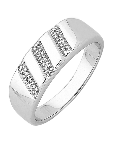 Men's Ring - Sterling Silver Diamond Set Ring - 745122