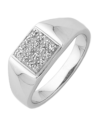 Men's Ring - Sterling Silver Diamond Set Ring - 745123