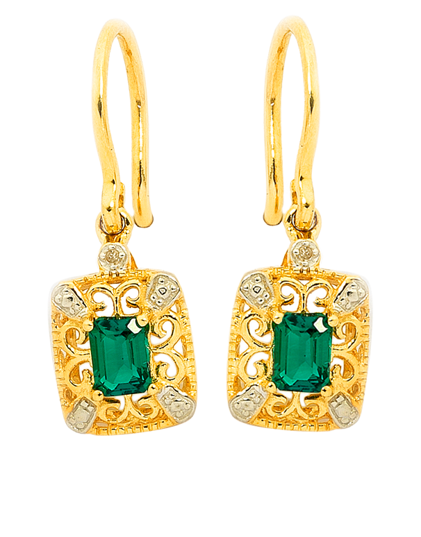 Emerald Earrings - 9ct Yellow Gold Emerald and Diamond Earrings - 745130 - Salera's Melbourne, Victoria and Brisbane, Queensland Australia