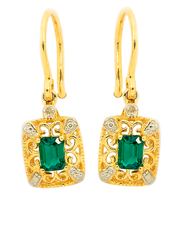 Emerald Earrings - 9ct Yellow Gold Emerald and Diamond Earrings - 745130