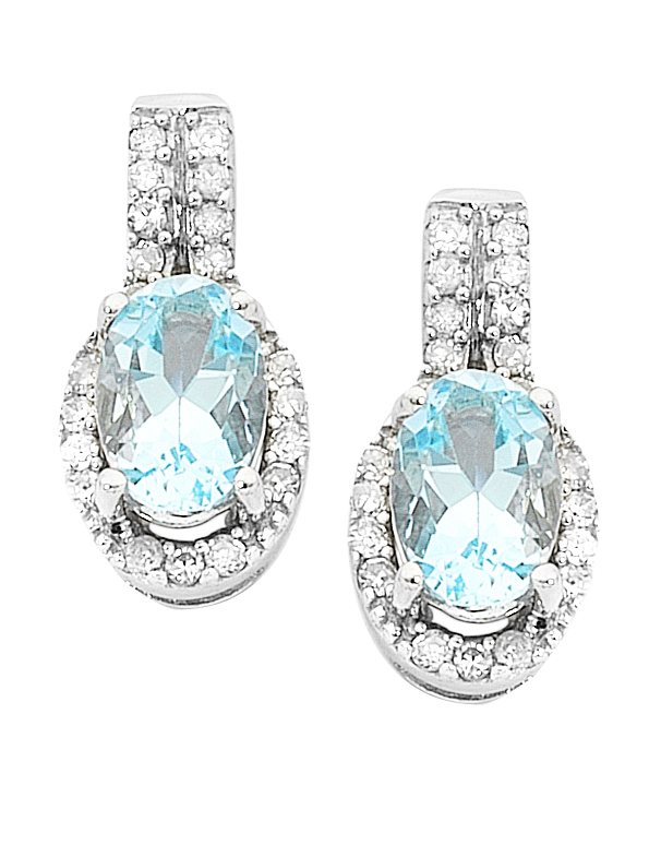 Aquamarine Earrings - 9ct White Gold Aquamarine and Diamond Earrings - 745131 - Salera's Melbourne, Victoria and Brisbane, Queensland Australia