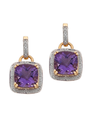 Amethyst Earrings - Yellow Gold Amethyst and Diamond Earrings - 745133