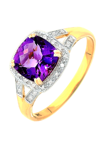 Amethyst Ring - Yellow Gold Amethyst & Diamond Ring - 745144