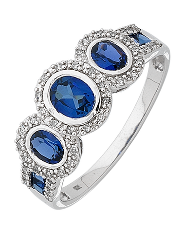 Sapphire Ring - 9ct White Gold Sapphire and Diamond Ring - 745148