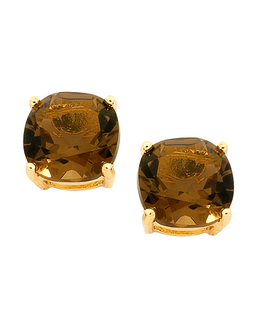Smokey Quartz Earrings - Yellow Gold Smokey Quartz Stud Earrings - 745179