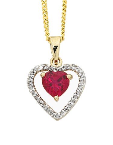 Ruby Pendant - Yellow Gold Ruby and Diamond Heart Pendant - 745185