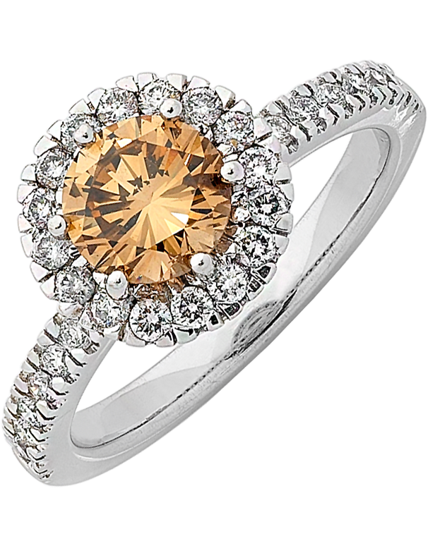 Diamond Ring - Cognac Diamond Halo Engagement Ring - 745329 - Salera's