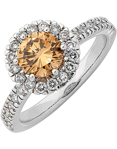 Diamond Ring - Cognac Diamond Halo Engagement Ring - 745329