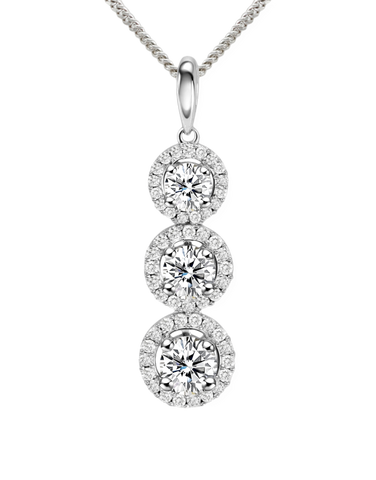 Rand - White Gold Diamond Halo Pendant - R19074W