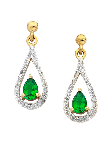 Emerald Earrings - 9ct Yellow Gold Emerald and Diamond Earrings - 746597