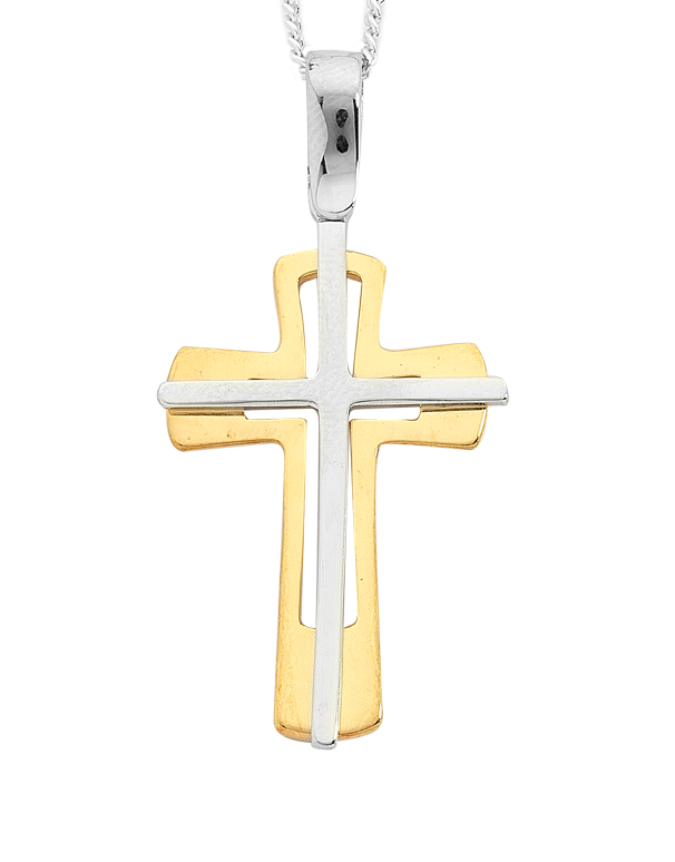 Gold Pendant - 9ct Two Tone Gold Cross - 746727 - Salera's Melbourne, Victoria and Brisbane, Queensland Australia