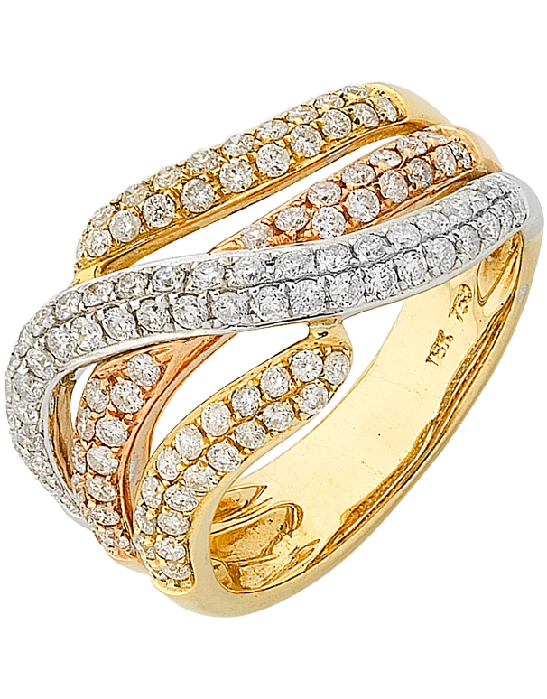 Diamond Ring - Three Tone Gold Diamond Dress Ring - 746881 - Salera's Melbourne, Victoria and Brisbane, Queensland Australia