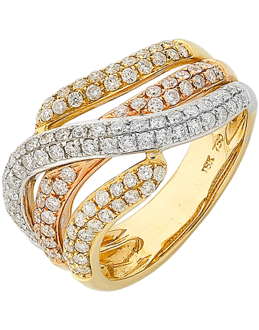 Diamond Ring - Three Tone Gold Diamond Dress Ring - 746881