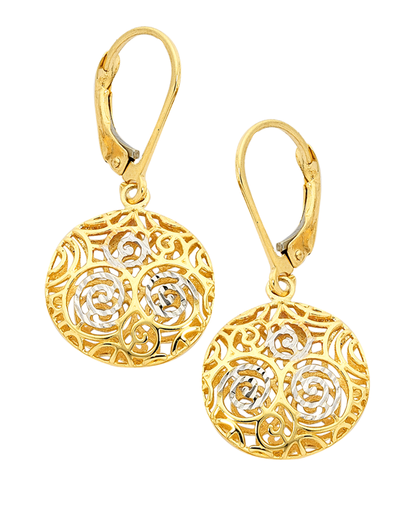 Gold Earrings - 9ct Two Tone Gold Drop Earrings - 747222 - Salera's Melbourne, Victoria and Brisbane, Queensland Australia