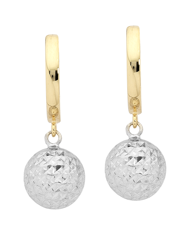 Gold Earrings - 9ct Two Tone Gold Ball Drop Earrings - 747224 - Salera's Melbourne, Victoria and Brisbane, Queensland Australia