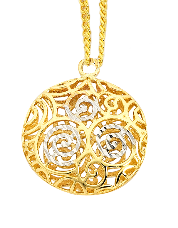Gold Pendant - 9ct Two Tone Gold Pendant - 747232 - Salera's Melbourne, Victoria and Brisbane, Queensland Australia