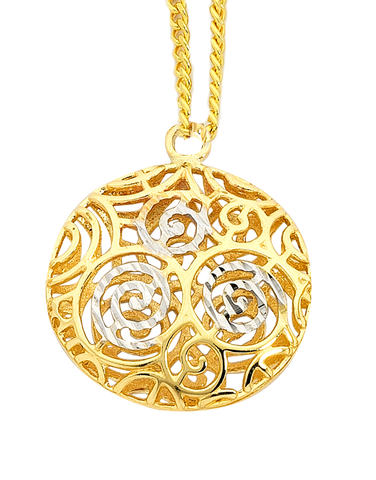 Gold Pendant - 9ct Three Tone Gold Round Swirl Pendant - 747232