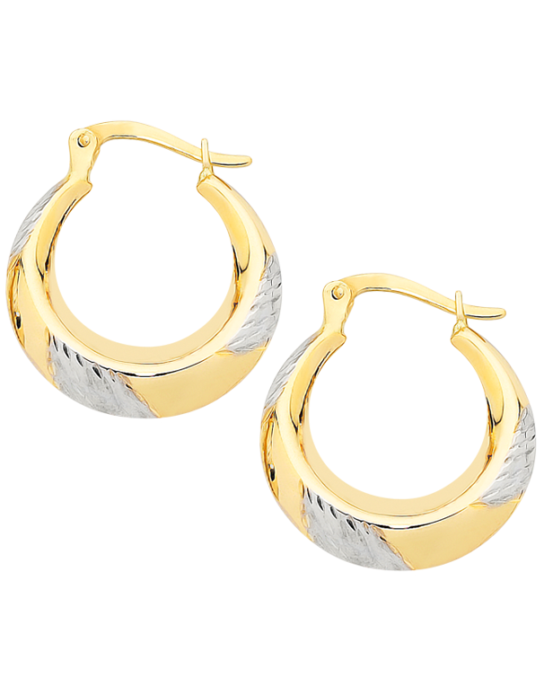 Gold Earrings - Two Tone Gold Hoops - 747242 - Salera's Melbourne, Victoria and Brisbane, Queensland Australia