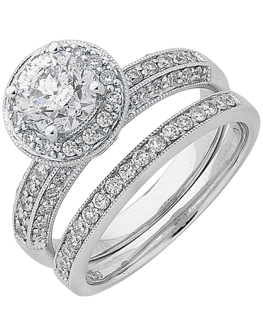 Bridal Set - White Gold Diamond Bridal Set Rings - 747826