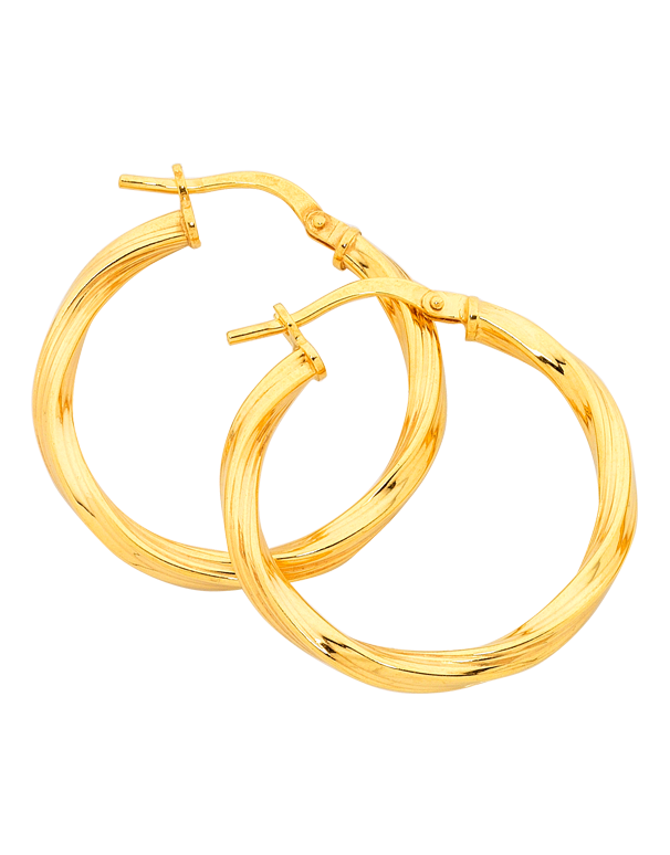 Gold Fusion Earrings - Gold Twist Hoop Earrings - 748812 - Salera's Melbourne, Victoria and Brisbane, Queensland Australia