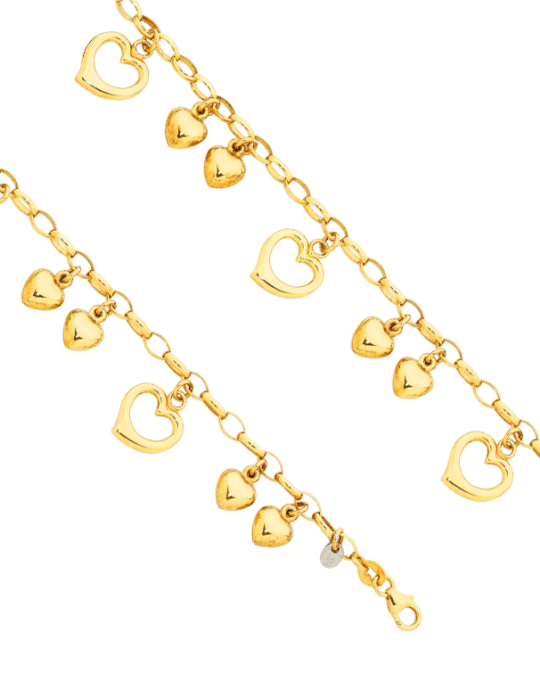 Gold Fusion Bracelet - Heart Charm Bracelet - 748820 - Salera's Melbourne, Victoria and Brisbane, Queensland Australia
