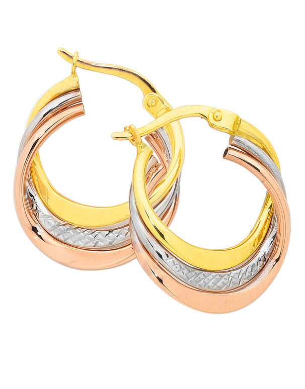 Gold Earrings - Three Tone Gold Hoop Earrings - 749733 - Salera's Melbourne, Victoria and Brisbane, Queensland Australia