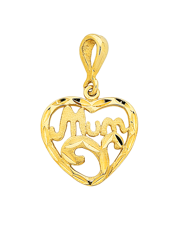 "Gold Pendant - Yellow Gold ""Mum"" Heart Pendant - 749746 - Salera's Melbourne, Victoria and Brisbane, Queensland Australia"