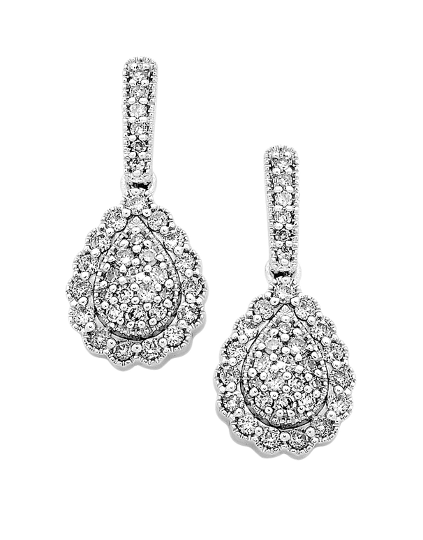 Diamond Earrings - White Gold Cluster Earrings - 749773 - Salera's Melbourne, Victoria and Brisbane, Queensland Australia