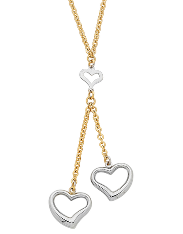 Gold Necklace - Two Tone Gold Heart Necklace - 750546