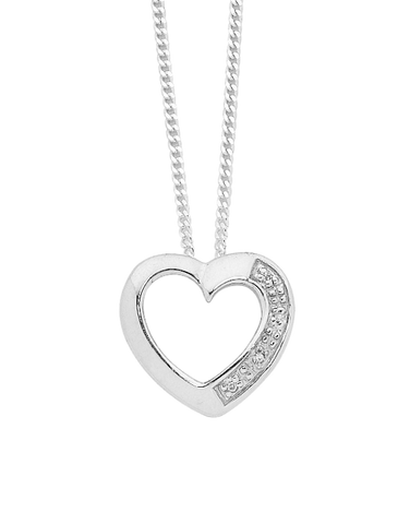 Diamond Pendant - Sterling Silver Diamond Heart Pendant - 750569