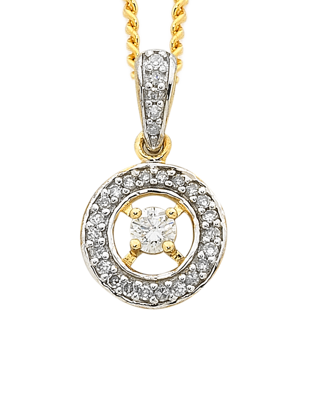 Diamond Pendant - Two Tone Gold Diamond Pendant - 750601 - Salera's Melbourne, Victoria and Brisbane, Queensland Australia