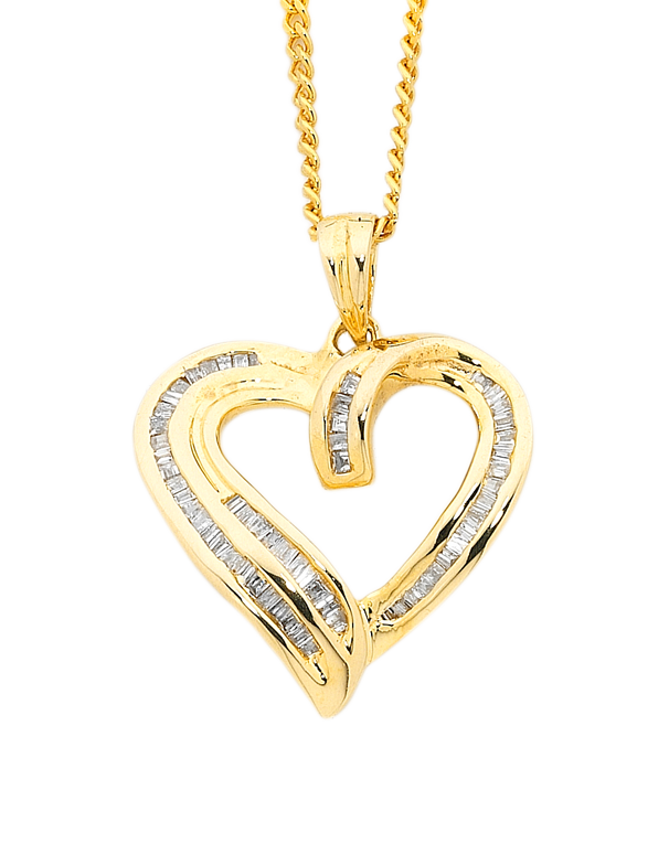 Diamond pendant yellow gold diamond heart pendant 750622 saleras aloadofball Images