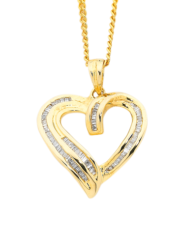 Diamond Pendant - Yellow Gold Diamond Heart Pendant - 750622
