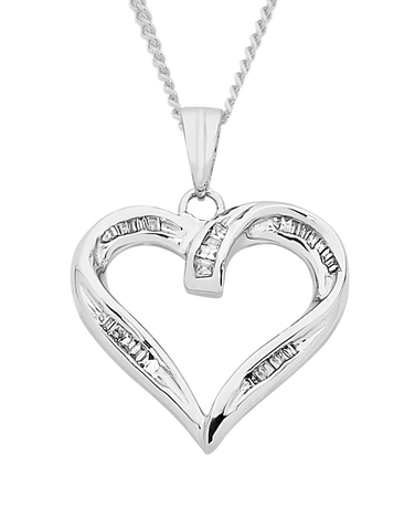 Diamond Pendant - White Gold Diamond Heart Pendant - 750631