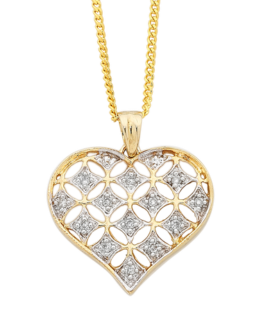Diamond Pendant - Yellow Gold Diamond Heart Pendant - 750632