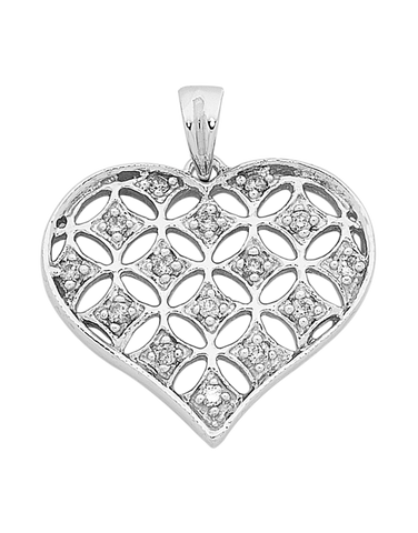 Diamond Pendant - White Gold Diamond Heart Pendant - 750633