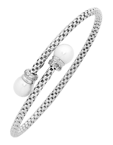 Pearl Bangle - Sterling Silver Pearl & CZ Bangle - 750760