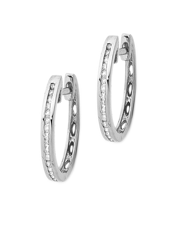 Diamond Earrings - Diamond Set White Gold Hoops - 750932  - Salera's Melbourne, Victoria and Brisbane, Queensland Australia