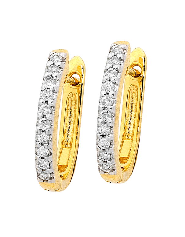 Salera's Diamond Earrings - Diamond Set Yellow Gold Hoops - 750942