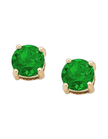 Emerald Studs - 9ct Yellow Gold Emerald Stud Earrings - 751049