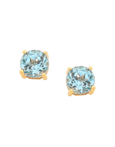Blue Topaz Earrings - Yellow Gold Blue Topaz Stud Earrings - 751053