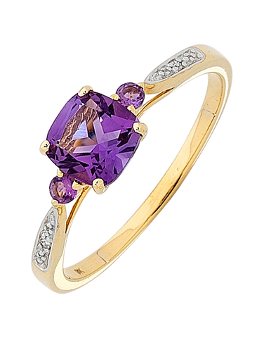 Amethyst Ring - Yellow Gold Amethyst and Diamond Ring - 751055