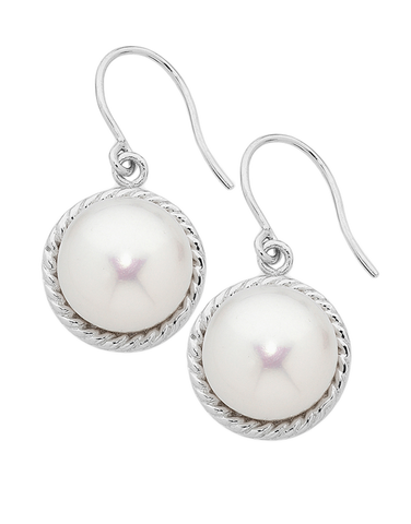 Pearl Earrings -  Sterling Silver Pearl Hook Earrings - 751094