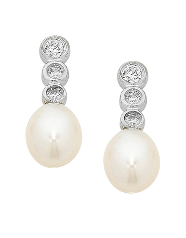 Pearl Earrings - Sterling Silver Pearl & CZ Earrings - 751101