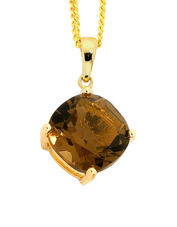 Smokey Quartz Pendant - Yellow Gold Smokey Quartz Pendant - 751327 - Salera's