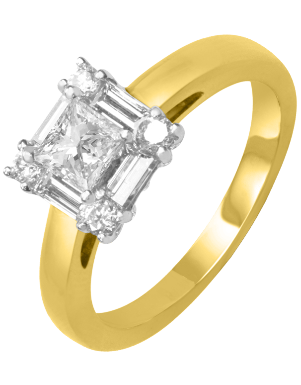 Rand - Yellow Gold Princess Cut Diamond Engagement Ring - Salera's Melbourne, Victoria and Brisbane, Queensland Australia