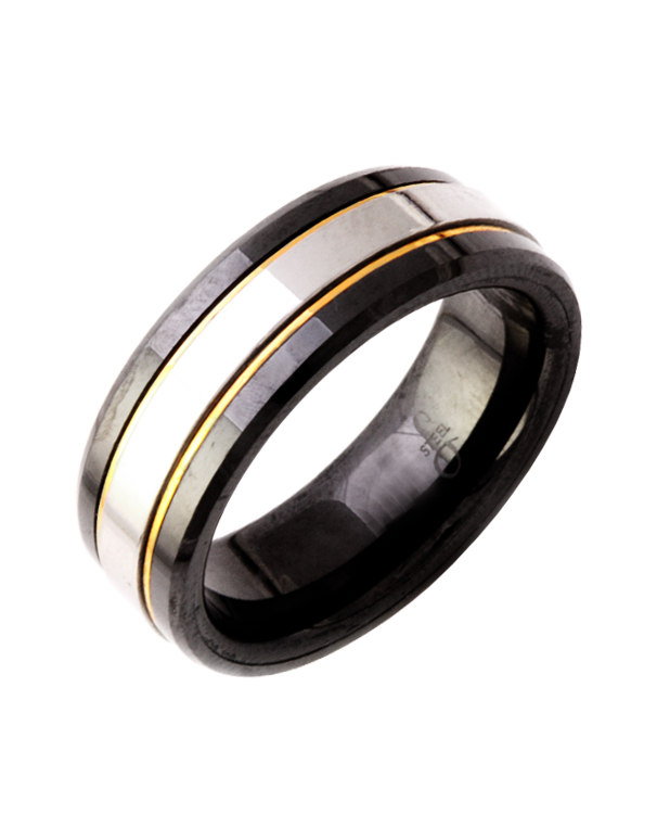 S-Steel Men's Steel & Ceramic Ring - 751812 - Salera's Melbourne, Victoria and Brisbane, Queensland Australia