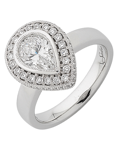 Diamond Ring - Pear Cut Halo Engagement Ring - 751847