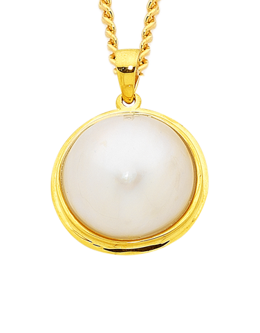 Pearl Pendant - Yellow Gold Mabe Pearl Pendant - 751878